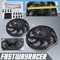Universal Black 2X12'' Electric Slim/Thin Cooling Fan S Blade
