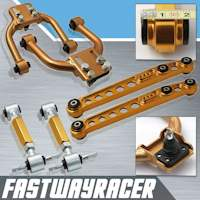 96-00 Honda Civic EK Gold Adjustable Front Upper Control Arm & Rear Lower Control Arm & Rear Camber Kit
