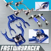 92-95 Honda Civic Blue Adjustable Front Upper Control Arm & Rear Camber Kit & Bushing Kit