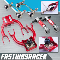 92-95 Honda Civic Red Adjustable Front Upper Control Arm & Rear Camber Kit & Bushing Kit