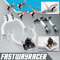 94-01 Acura Integra White Adjustable Front Upper Control Arm & Silver Rear Camber Kit & Bushing Kit