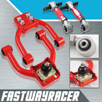 96-00 Honda Civic EK Red Adjustable Front Upper Control Camber Arm Kit & Rear Camber Kit