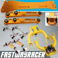 92-95 Honda Civic Gold Subframe Brace & Front Upper Control Arm & Rear Lower Control Arm & Rear Camber Kit & Bushing Kit