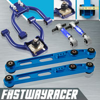 96-00 Honda Civic EK Blue Adjustable Front Upper Control Arm & Rear Lower Control Arm & Rear Camber Kit