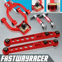 96-00 Honda Civic EK Red Adjustable Front Upper Control Arm & Rear Lower Control Arm & Rear Camber Kit