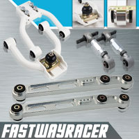 96-00 Honda Civic EK Silver Adjustable Front Upper Control Arm & Rear Lower Control Arm & Rear Camber Kit