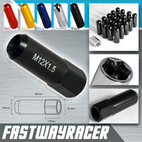 12X1.5MM 20 Pieces Matt Black 60MM Extended Aluminum Lug Nuts