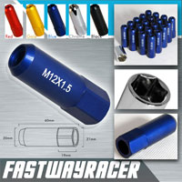 12X1.5MM 20 Pieces Matt Blue 60MM Extended Aluminum Lug Nuts