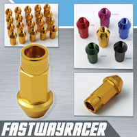 12X1.5MM 20 Pieces Gold Extended Aluminum Lug Nuts