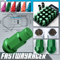 12X1.5MM 20 Pieces Green Aluminum Closed Ended Lug Nuts with Locking Key