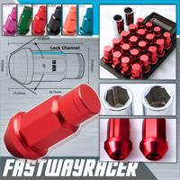 12X1.5MM 20 Pieces Red Aluminum Closed Ended Lug Nuts with Locking Key