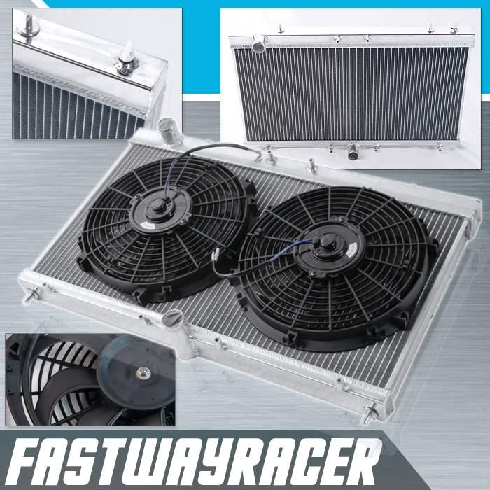 "2-ROW ALUMINUM RADIATOR+2X 10/""FAN+OIL COOLER BLACK FOR 95-98 MIT ECLIPSE//TALON"