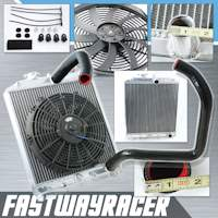 92-00 Honda Civic B16/B18 Manual 2 Rows Aluminum Radiator & 12&#39&#39 Cooling Fan & Black Radiator Hose Kit