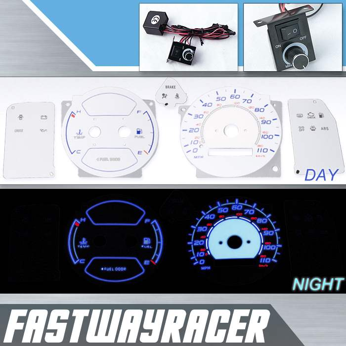 98-02 Toyota Corolla w/o Tachometer White and Blue Reverse Glow Gauge