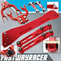92-95 Honda Civic EG Red Subframe Brace & Front Upper Control Arm & Rear Lower Control Arm & Rear Camber Kit