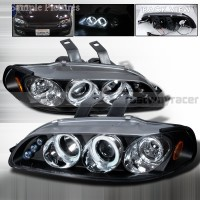 Honda 92-95 Civic 2/3D Dual Halo Projector LED Headlights Black