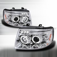Ford 03-06 Expedition Dual Halo Projector LED Headlights Chrome